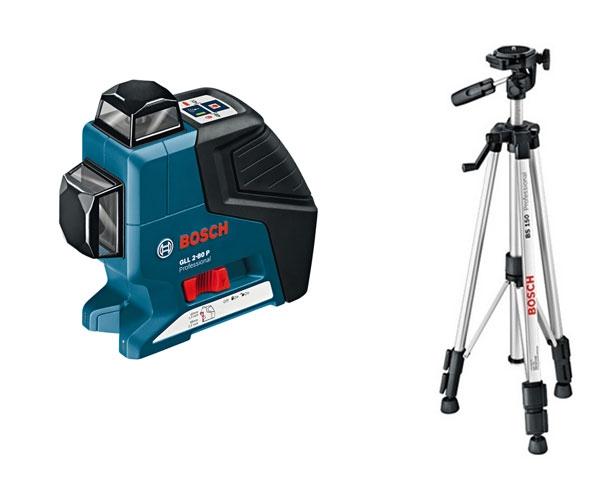 Лазерный нивелир Bosch GLL 2-80 P + BS 150 + вкладка под L-Boxx [0601063205]Измерительные инструменты<br>- Высокая эффективность работы: выполнение нивелировочных работ в горизонтальной и вертикальной плоскостях одновременно с помощью всего лишь одного инструмента<br>- Большой рабочий диапазон: точное выполнение работ в диапазоне до 80 м с помощью приемника LR 2 Professional<br>- Удобство использования: самонивелирование до 4° за 4 секунды, компактное исполнение<br>