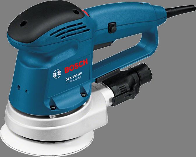 Эксцентриковая шлифмашина Bosch GEX 125 AC [0601372565]Шлифовальные и заточные машины<br><br><br>Размер хода платформы, мм: 5<br>Описание: эксцентриситет 2,5 мм, бумажный мешочный фильтр, алюминиевый фланец подшипника.