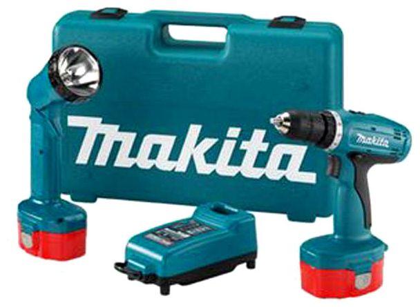 Дрель-шуруповерт  Makita 8280DWPLEДрели, шуруповерты, гайковерты<br>- Новая, компактная, мощная и надежная аккумуляторная дрель-шуруповерт.<br>- Три инструмента в одном: ударная дрель, шуруповерт и обычная дрель.<br>- Мощный мотор, превосходящий всех предшественников.<br>- Рукоятка с мягкой накладкой в месте захвата снижает вибрации и противодействует соскальзываю инструмента из руки.<br>- В комплекте фонарь.<br><br>Тип: дрель-шуруповерт<br>Тип инструмента: ударный<br>Тип патрона: быстрозажимной<br>Количество скоростей работы: 2<br>Питание: от аккумулятора<br>Возможности: реверс<br>Тип аккумулятора: Ni-Cd<br>Время зарядки аккумулятора: 0.5 ч<br>Съемный аккумулятор: есть<br>Дополнительный аккумулятор: есть