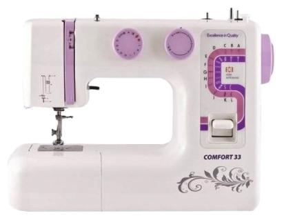 Швейная машина Comfort 33Швейные машины<br><br><br>Тип: электромеханическая<br>Тип челнока: вертикальный (ротационный)<br>Вышивальный блок: нет<br>Количество швейных операций: 25<br>Выполнение петли: полуавтомат<br>Максимальная длина стежка: 4 мм<br>Максимальная ширина стежка: 5.0 мм<br>Оверлочная строчка : есть<br>Потайная строчка : есть<br>Эластичная строчка : есть
