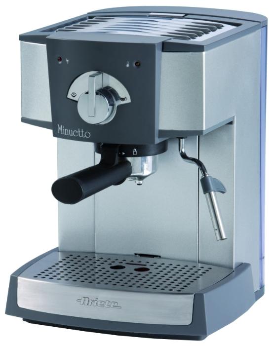 Кофемашина Ariete 1334 MinuettoКофеварки и кофемашины<br>Кофеварка Ariete 1334 Minuetto – отличная техника, с помощью которой вы можете приготовить как обычный кофе, так и напитки с молоком. Их вкус будет таким же, как вкус капучино, эспрессо, латте, приготовленных в ресторане. Особенность этой кофеварки – фильтры на 1 и 2 чашки. С ее помощью можно готовить кофе из молотых зерен, также она подходит для кофе таблетированного. Корпус устройства изготовлен из металла. Кофеварка выглядит красиво, она эргономична и привлекательна.<br><br>Удобная кофеварка<br>Купить кофеварку Ariete 1334 – наслаждаться лучшим кофе. Резервуар для...<br><br>Тип используемого кофе: Молотый\Чалды<br>Мощность, Вт: 1100<br>Материал корпуса  : Металл<br>Материал рожка  : Металл<br>Одновременное приготовление двух чашек  : Есть<br>Съемный лоток для сбора капель  : Есть