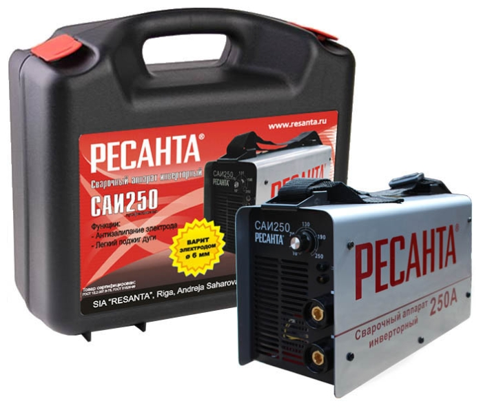 Сварочный аппарат Ресанта САИ-250 кейсСварочные аппараты<br><br><br>Тип: сварочный инвертор<br>Сварочный ток (MMA): 10-250 А<br>Напряжение на входе: 140-260 В<br>Количество фаз питания: 1<br>Напряжение холостого хода: 80 В<br>Тип выходного тока: постоянный<br>Мощность, кВт: 7.7<br>Продолжительность включения при максимальном токе: 70 %<br>Диаметр электрода: 6 мм<br>Антиприлипание: есть
