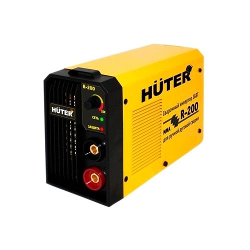 Сварочный аппарат Huter R-200Сварочные аппараты<br><br><br>Тип: сварочный инвертор<br>Сварочный ток (MMA): 10-200 А<br>Напряжение на входе: 160-260 В<br>Количество фаз питания: 1<br>Напряжение холостого хода: 80 В<br>Тип выходного тока: постоянный<br>Продолжительность включения при максимальном токе: 70 %<br>Диаметр электрода: 4 мм<br>Антиприлипание: есть<br>Горячий старт: есть