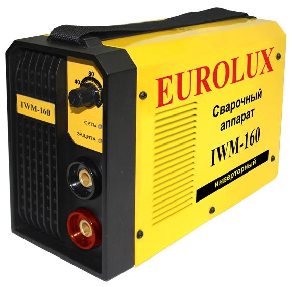 Сварочный аппарат Eurolux IWM160Сварочные аппараты<br><br><br>Тип: сварочный инвертор<br>Сварочный ток (MMA): 10-160 А<br>Напряжение на входе: 140-260 В<br>Количество фаз питания: 1<br>Тип выходного тока: постоянный<br>Продолжительность включения при максимальном токе: 70 %<br>Диаметр электрода: 1.60-4 мм<br>Степень защиты: IP21