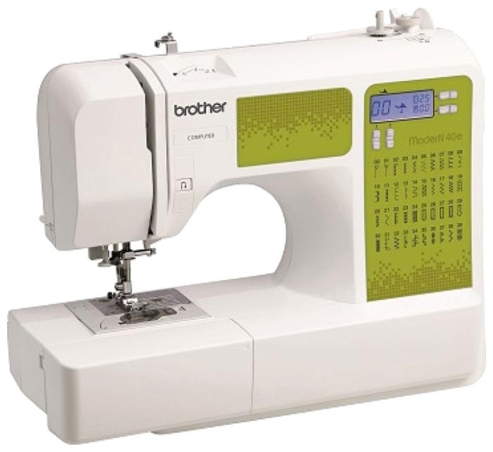 Швейная машина Brother ModerN 40EШвейные машины<br>Швейная машина Brother ModerN 40e – это универсальная компьютеризированная бытовая модель, которая отличается практически безграничными функциональными возможностями, надежным качеством и образцовым дизайнерским исполнением.<br><br>Brother ModerN 40e выполняет 40 операций, среди которых 6 разновидностей петлей-автомат, многообразие декоративных, квилтинговых, пэчворкских, прямых, оверлочных, потайных строчек, аппликации, художественная отделка тканых изделий, штопка и т.п. Модель имеет относительно небольшой вес, равный 6 кг, и мощность – 42 Вт.<br><br>Швейная машина...<br>