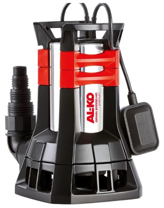 Насос AL-KO Drain 20000 HDНасосы<br>Мощный погружной насос для откачивания грязной воды даже в экстремальных условиях<br><br>- С пропускной способностью взвешенных частиц до 38 см в диаметре пригоден для прокачивания и сильно загрязненной воды<br>- Длительный срок службы благодаря корпусу из никелированной хромированной стали и особой воронкообразной контрукции рабочего колеса<br>- Со встроенным поплавковым выключателем для автоматического включения-выключения<br>- С мощным, не нуждающимся в обслуживании, двигателем и термореле для защиты от перегрева<br>- Прекрасно подходит для откачивания...<br><br>Глубина погружения: 5 м<br>Максимальный напор: 10 м<br>Пропускная способность: 20 куб. м/час<br>Напряжение сети: 220/230 В<br>Потребляемая мощность: 1300 Вт<br>Качество воды: грязная<br>Размер фильтруемых частиц: 38 мм<br>Установка насоса: вертикальная