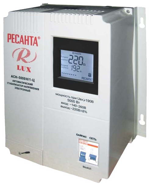 Стабилизатор напряжения Ресанта LUX АСН-3000Н/1-ЦСетевые фильтры и стабилизаторы<br><br><br>Тип: стабилизатор напряжения