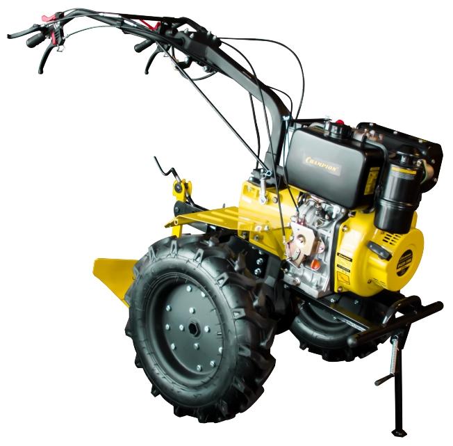 Мотоблок Champion DC1193EМотоблоки и культиваторы<br>Тяжёлый дизельный мотоблок CHAMPION DC1193E - самый мощный и производительный агрегат в модельном ряду CHAMPION. Предназначен для обработки обширных земельных участков с любым типом почвы. Оснащён экономичным 4-тактным дизельным двигателем CHAMPION D420-1HK мощностью 9,5 л.с. и электростартером. Укомплектован большими пневматическими колёсами 5?12 дюймов и снабжён восемью прочными стальными фрезами, которые позволяют культивировать за один проход полосу почвы шириной от 80 до 110 см при глубине обработки до 30 см. Регулируемая рулевая колонка, две скорости и функ...<br><br>Тип: мотоблок<br>Объем топливного бака: 5.5 л<br>Ширина обработки почвы: 110 см<br>Глубина вспахивания: 30 см<br>Тип двигателя: дизельный, 4х тактный, цилиндров: 1<br>Производитель и модель двигателя: Champion D420-1HK<br>Объем двигателя: 418 куб. см<br>Мощность двигателя: 9.50 л.с. при 3600 об/мин<br>Тип сцепления: дисковое<br>Тип редуктора: червячный