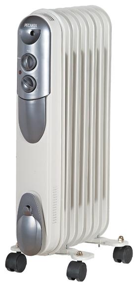 Масляный радиатор Ресанта ОМПТ- 7НОбогреватели<br><br><br>Тип: масляный радиатор<br>Максимальная мощность обогрева: 1500 Вт<br>Количество секций: 7<br>Каминный эффект : есть<br>Управление: механическое<br>Регулировка температуры: есть<br>Термостат: есть<br>Выключатель со световым индикатором: есть<br>Напольная установка: есть<br>Отделение для шнура : есть