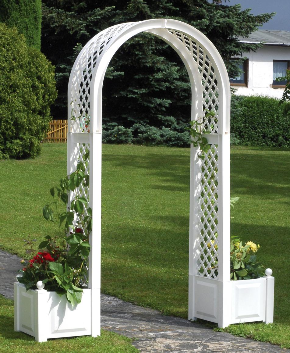 Садовая арка KHW 37601 WhiteСадовые конструкции<br>Декоративная садовая арка KHW применяется в оформлении ландшафта участка, так как позволяет создать уникальный и ухоженный вид садовому участку. Арка применяется для оформления садовых дорожек, входа в дом или веранду. Она станет одной из самых красивых украшений сада. <br><br>Садовая арка KHW представляет собой решетчатую конструкцию, изогнутую в виде арки с двумя ящиками по бокам для растений. Такое изделие отлично подойдет для вьющихся растений. В двух квадратных клумбах&amp;nbsp;&amp;nbsp;&amp;#40;объем одного ящика 44 литра&amp;#41; можно совместить посадки как вьющихся,...<br>