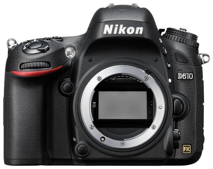 Зеркальный фотоаппарат Nikon D610 BodyЦифровые зеркальные фотоаппараты<br>Оцените все преимущества фотосъемки в полнокадровом режиме с фотокамерой D610.<br>Благодаря поддержке профессиональных технологий Nikon эта мощная цифровая зеркальная фотокамера обеспечивает качество изображения, возможное только при использовании формата FX. <br>24,3-мегапиксельная матрица формата FX запечатлевает все детали с реалистичной резкостью, что позволяет снимать изумительные фотографии с насыщенными цветами и создавать плавные видеоролики в формате Full HD. Вы можете запечатлеть движение со скоростью до шести кадров в секунду, а новый режим...<br><br>Тип: Цифровая зеркальная фотокамера<br>Стабилизатор изображения: нет<br>Носители информации: SD, SDHC, SDXC<br>Видеорежим: есть<br>Вспышка: есть<br>Кроп фактор: 1<br>Тип матрицы: CMOS<br>Размер матрицы: 35.9 x 24 мм<br>Число эффективных пикселов, Mp: 24.3 млн<br>Чувствительность: 100 - 6400 ISOISO12800, ISO25600