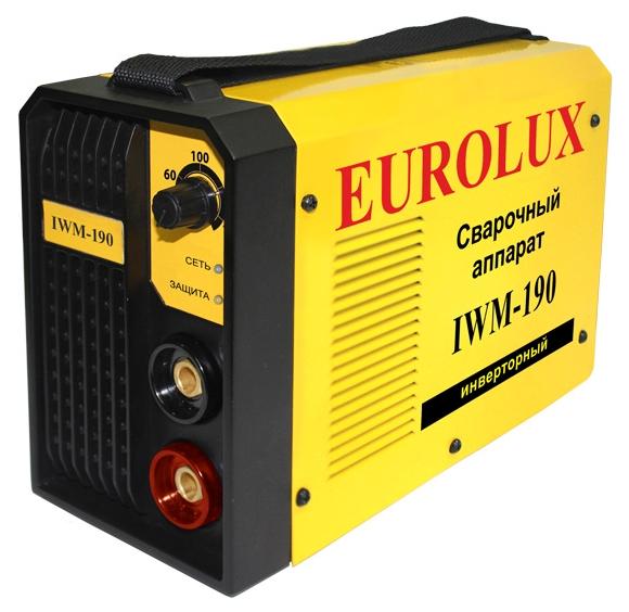 Сварочный аппарат Eurolux IWM-190Сварочные аппараты<br><br><br>Тип: сварочный инвертор<br>Сварочный ток (MMA): 10-190 А<br>Напряжение на входе: 140-260 В<br>Количество фаз питания: 1<br>Тип выходного тока: постоянный<br>Продолжительность включения при максимальном токе: 70 %<br>Диаметр электрода: 1.60-5 мм<br>Степень защиты: IP21