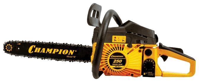 Бензопила Champion 250-18Пилы<br><br><br>Тип: бензопила<br>Конструкция: ручная<br>Мощность, Вт: 2200<br>Объем двигателя: 49.3 куб. см<br>Функции и возможности: тормоз цепи
