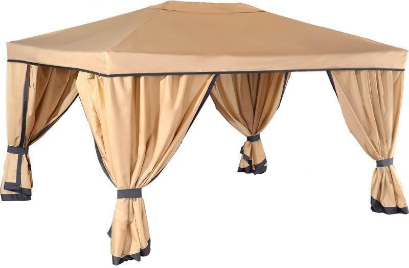 Садовый тент-шатер Green Glade 1050Садовые тенты и шатры<br>Просторный садовый тент шатер Green Glade 1050 – это очень стильная красивая модель приятного бежевого цвета, которая идеально впишется в дизайн практически любого дачного участка или другого пространства. Такой шатер отлично организует комфортное место для отдыха всей Ваши семьи или компании друзей. А плотные стенки с 4-ёх сторон укроют Вас от любопытных взглядов, защитят от знойного солнца или легкого дождя, или ветра, лишь растегните подхваты, которые удерживают стенки шатра.<br><br>Тип: Садовый тент-шатер<br>Покрытие: полиэстер 160 г с водоотталкивающей пропиткой<br>Каркас: металлическая трубка (19х19х25 мм)<br>Размеры упаковки: 115х19х23 см