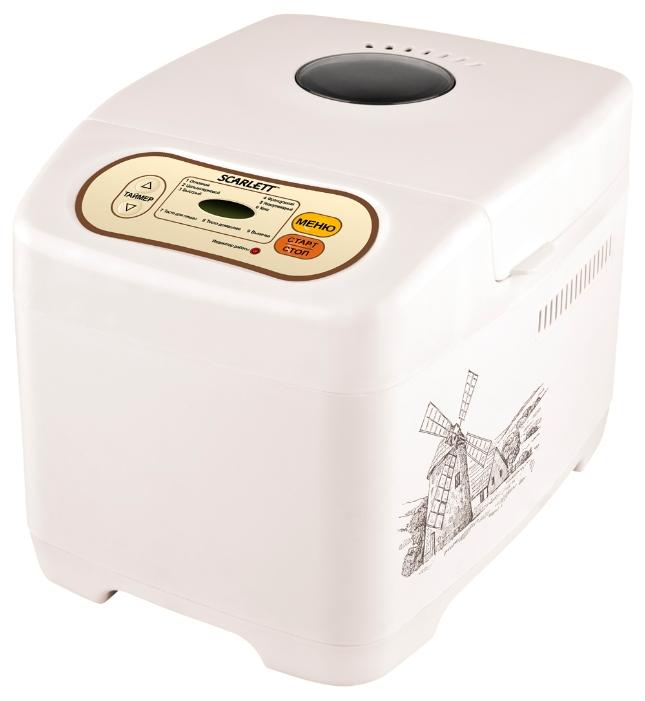 Хлебопечка Scarlett SC-BM40002Хлебопечки<br><br><br>Тип: Хлебопечь<br>Максимальный вес выпечки, г: 500<br>Мощность, Вт: 530<br>Регулировка веса выпечки: Есть<br>Таймер: Есть<br>Установка таймера: до 13 ч<br>Поддержание температуры: Есть<br>Диспенсер: Нет<br>Запас памяти при сбое электропитания, мин: 15 мин