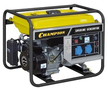 Электрогенератор Champion GG3300Электрогенераторы<br><br><br>Тип электростанции: бензиновая<br>Тип запуска: ручной<br>Число фаз: 1 (220 вольт)<br>Объем двигателя: 208 куб.см<br>Мощность двигателя: 6.5 л.с.<br>Тип охлаждения: воздушное<br>Расход топлива: 1.5 л/ч<br>Объем бака: 15 л<br>Активная мощность, Вт: 2600<br>Описание: вольтметр