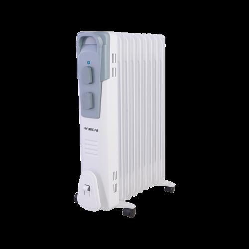 Масляный радиатор Hyundai H-HO1-11-UI9005Обогреватели<br>Маслонаполненные радиаторы Hyundai серии Polus имеют классический типоразмер секций и ступенчатое переключение мощности нагрева. Контроль работы устройства осуществляется при помощи высокоточного термостата, выполненного на основе медного сплава. Широкий модельный ряд &amp;#40;от 7 до 11 секций&amp;#41; позволяет подобрать радиатор, ориентируясь именно на ваши потребности.<br><br>Радиаторы серии Plus не требуют монтажа, имеют отсек для хранения шнура питания, удобную ручку для переноски и специальные колесики для транспортировки, что обеспечивает дополнительный...<br><br>Тип: масляный радиатор<br>Максимальная мощность обогрева: 2500<br>Площадь обогрева, кв.м: 27<br>Количество секций: 11<br>Габариты: 630х250х505 мм