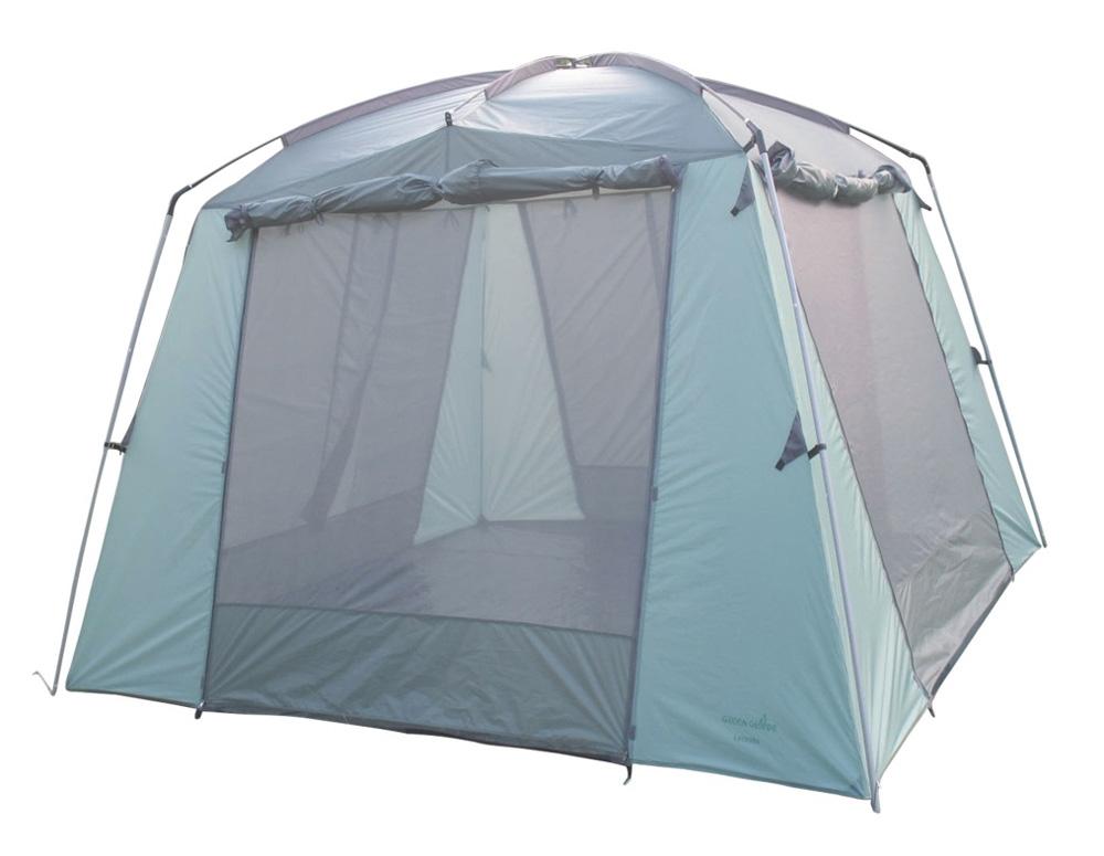 Палатка Green Glade Lacosta (Siesta)Палатки<br>Главным преимуществом туристических шатров является их компактность &amp;#40;в сложенном виде занимают не много места&amp;#41;, мобильность &amp;#40;их можно легко разобрать и собрать на новом месте стоянки&amp;#41;, водонепроницаемость &amp;#40;практически все модели выполнены из палаточной ткани&amp;#41;, и хорошая ветростойкость при правильной растяжке.<br><br>Для лучшей вентиляции в этом туристическом шатре можно оставлять глухие стенки не закрытыми, а при необходимости опускать стенку, чтобы защититься от ветра или косого дождя. Внизу глухие стенки фиксируются липучками.<br><br>В...<br><br>Тип: палатка<br>Площадь : 9 кв. м.<br>Материал: 190T полиэстер<br>Количество мест: 10