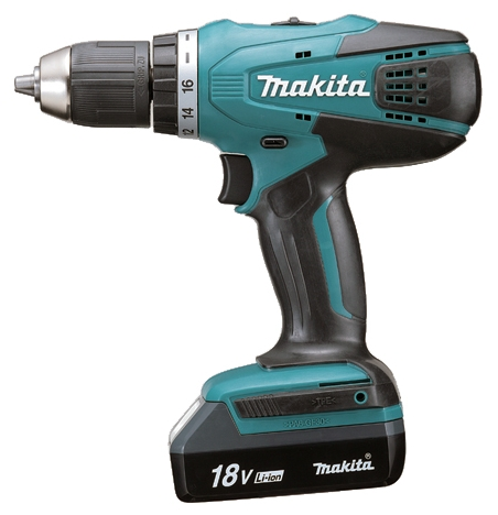 Дрель-шуруповерт Makita DF457DWLEДрели, шуруповерты, гайковерты<br>Дрель-шуруповерт Макита DF 457DWLE представляет собой легкий максимально удобный агрегат, который имеет относительно невысокую цену и хорошие характеристики.<br><br>Использование Makita DF457DWLE<br><br>Применяется этот инструмент для стандартных работ по завинчиванию крепежа и по созданию отверстий. Предлагаемая модель может быть полезна во множестве самых разных ситуаций, так как она не зависит от электросети. Чаще всего данное аккумуляторное устройство эксплуатируется в сферах ремонта и строительства, но может использоваться и в некоторых других областях...<br><br>Тип: дрель-шуруповерт<br>Тип инструмента: безударный<br>Тип патрона: быстрозажимной<br>Количество скоростей работы: 2<br>Питание: от аккумулятора<br>Тормоз двигателя: есть<br>Возможности: реверс, фиксация шпинделя, электронная регулировка частоты вращения<br>Тип аккумулятора: Li-Ion<br>Съемный аккумулятор: есть<br>Дополнительный аккумулятор: есть