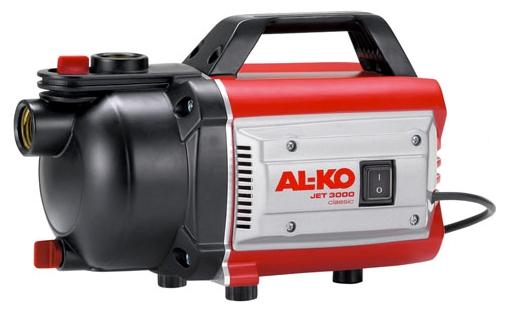 Насос AL-KO Jet 3000 ClassicНасосы<br>Мощность, надежность, экономия электроэнергии. Простота ввода в эксплуатацию. Мобильный полив при хорошем соотношении цены и качества.<br><br>Глубина погружения: 8 м<br>Максимальный напор: 35 м<br>Пропускная способность: 3.1 куб. м/час<br>Напряжение сети: 220/230 В<br>Потребляемая мощность: 650 Вт<br>Качество воды: чистая<br>Установка насоса: горизонтальная