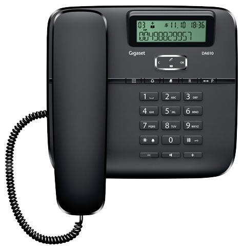 Проводной телефон Gigaset DA610 BlackПроводные телефоны<br>Gigaset da610 black: качественная и удобная связь.<br>Красивый и качественный телефон по доступной цене? Такой, который идеально подойдет как для офиса, так и для дома? Да, вы попали именно туда, куда нужно! Ведь в нашем интернет-магазине «Техномарт» есть именно такая модель: проводной телефон Gigaset da610 black!<br>Презентабельный элегантный внешний вид, безупречный дизайн, множество полезных встроенных функций: органайзер, автоматический определитель номера, телефонная книга, повторный набор, журнал номеров, спикерфон — такой телефон станет для вас надежным деловым...<br><br>Тип: проводной телефон<br>Дисплей: есть<br>Органайзер: есть<br>Наборное поле на базе: есть<br>Громкая связь (спикерфон): есть<br>Память (количество номеров): 50<br>Однокнопочный набор (количество кнопок): 10<br>Встроенная телефонная книга: есть<br>Повторный набор номера: есть<br>Тональный набор: есть