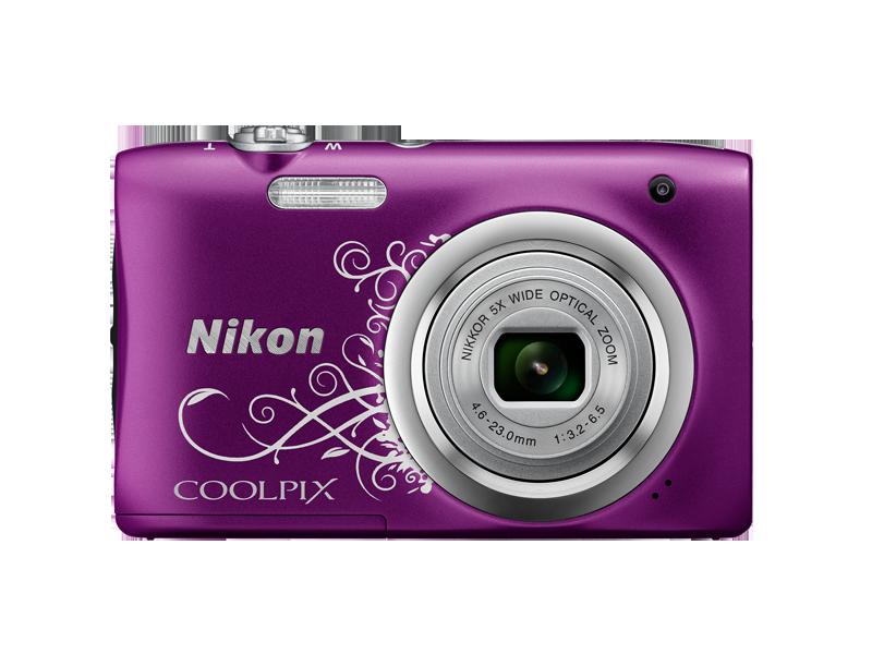 Цифровой фотоаппарат  Nikon Coolpix A100 Purple2 с рисункомЦифровые фотоаппараты<br><br><br>Тип: Цифровой Фотоаппарат<br>Оптическое увеличение: 5<br>Носители информации: micro SD, micro SDHC, micro SDXC<br>Видеорежим: Есть<br>Звук в видеоклипе: Есть<br>Вспышка: Есть<br>Цвет: Фиолетовый<br>Кроп фактор: 5.62<br>Тип матрицы: CCD<br>Размер матрицы: 1/2.3
