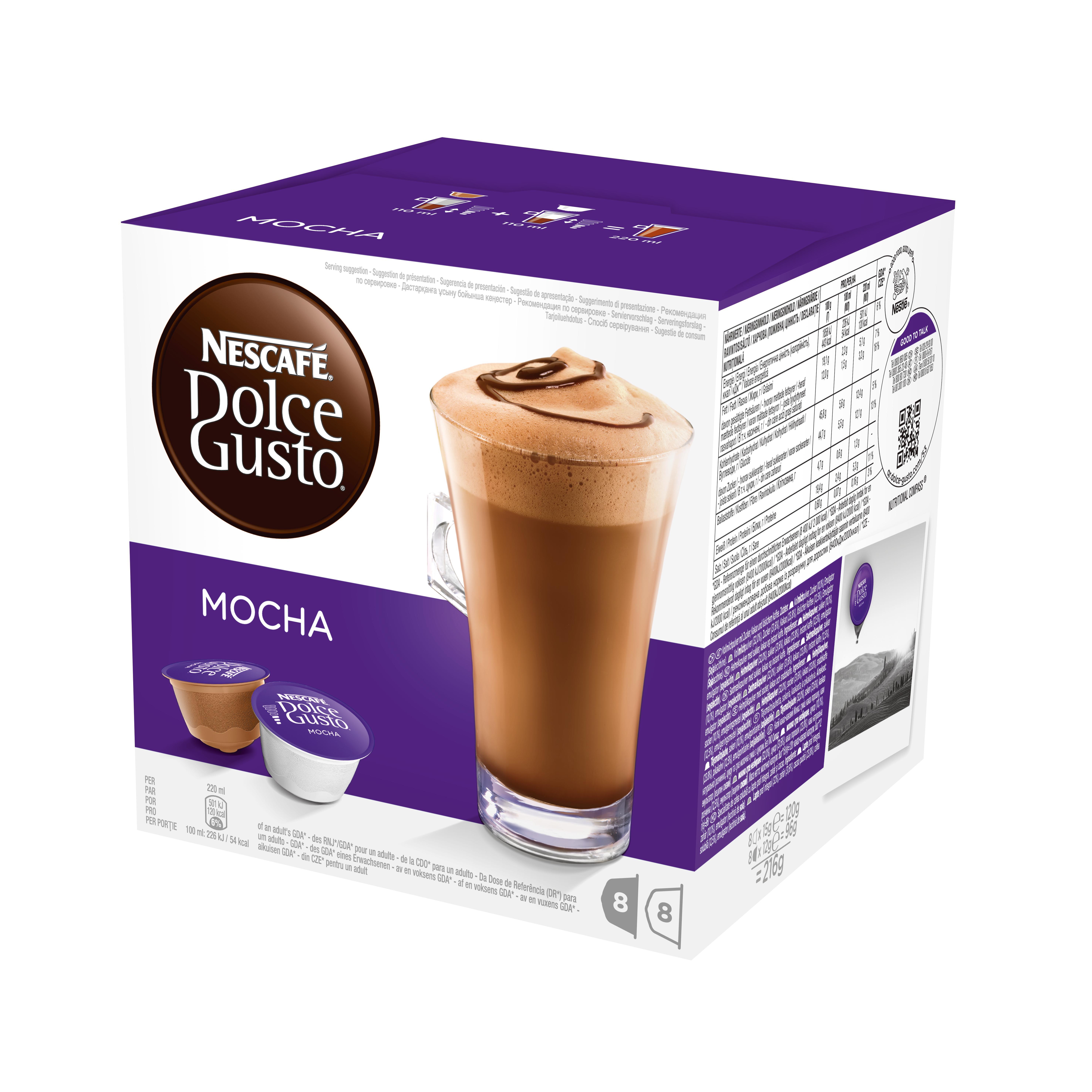 Кофе в капсулах Dolce Gusto Mocha (Мокка), 16 кап.Кофе, какао<br>Кофе в капсулах NESCAFE Dolce Gusto Mocha &amp;#40;Нескафе Дольче Густо Мокка&amp;#41;. Мокка – сочетание насыщенного кофе и яркого вкуса ароматного шоколада. Каждое мгновение с чашечкой горячего Мокка может превратиться в истинное наслаждение, которое можно посвятить себе или разделить с друзьями…если, конечно, Вы готовы делиться своим изысканным Мокка. Каждая капсула рассчитана на одну чашку напитка, для приготовления кофе Мокка вам потребуется одна капсула кофе и одна капсула молока &amp;#40;входит в комплект Dolce Gusto Mocha&amp;#41;, итого получается 8 порций кофе Мокка из одной...<br><br>Тип: кофе в капсулах