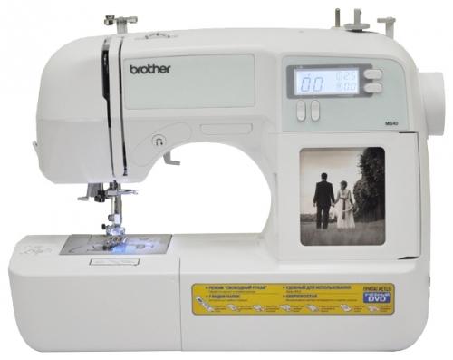 Швейная машина Brother MS40Швейные машины<br>BROTHER MS 40 - швейная машина с микропроцессорным управлением и современным горизонтальным челноком, выполняет 40 швейных операций. <br><br>Ваше любимое фото теперь в Вашей машине! В модели BROTHER MS 40 предусмотрен отсек-фоторамка, куда владелец может вставить свою любимую фотографию.<br><br>BROTHER MS 40 предоставляет пользователю широчайший выбор строчек, автоматическое выметывание петель и автоматическая заправка нити в иглу превращают рутинные операции в удовольствие. Все данные по длине стежка, ширине строчки и типу прижимной лапки отображаются на жидкокристаллическом...<br><br>Тип: электронная<br>Тип челнока: ротационный горизонтальный<br>Вышивальный блок: нет<br>Количество швейных операций: 39<br>Выполнение петли: автомат<br>Число петель: 5<br>Максимальная ширина стежка: 7.0 мм<br>Потайная строчка : есть<br>Эластичная строчка : есть<br>Эластичная потайная строчка: есть