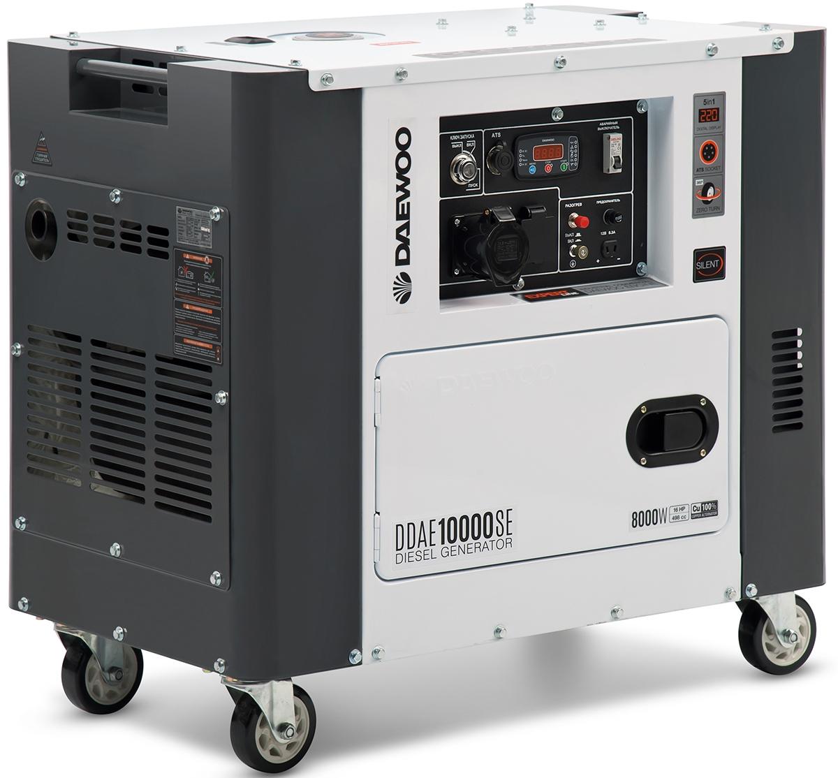 Электрогенератор Daewoo DDAE 10000SEЭлектрогенераторы<br>Дизельный генератор DAEWOO DDAE10000SE имеет в своей конструкции мощный 4-х тактный дизельный двигатель с моторесурсом более 2000 часов. Система SuperSilent подавляет шум, который производит агрегат во время работы, до 66 дБ. Многочисленные отверстия в корпусе модели защищают устройство от перегрева. Модуль управления имеет встроенный микропроцессор, который позволяет контролировать встроенные функции. Стабильность работы, а также возможность экономии топлива до 15 % достигается за счет наличия топливного насоса высокого давления и форсунки особой формы....<br><br>Тип электростанции: дизельная<br>Тип запуска: электрический<br>Число фаз: 1 (220 вольт)<br>Объем двигателя: 498 куб.см<br>Мощность двигателя: 16 л.с.<br>Тип охлаждения: воздушное<br>Объем бака: 15 л<br>Активная мощность, Вт: 7200<br>Звукоизоляционный кожух: есть<br>Защита от перегрузок: есть