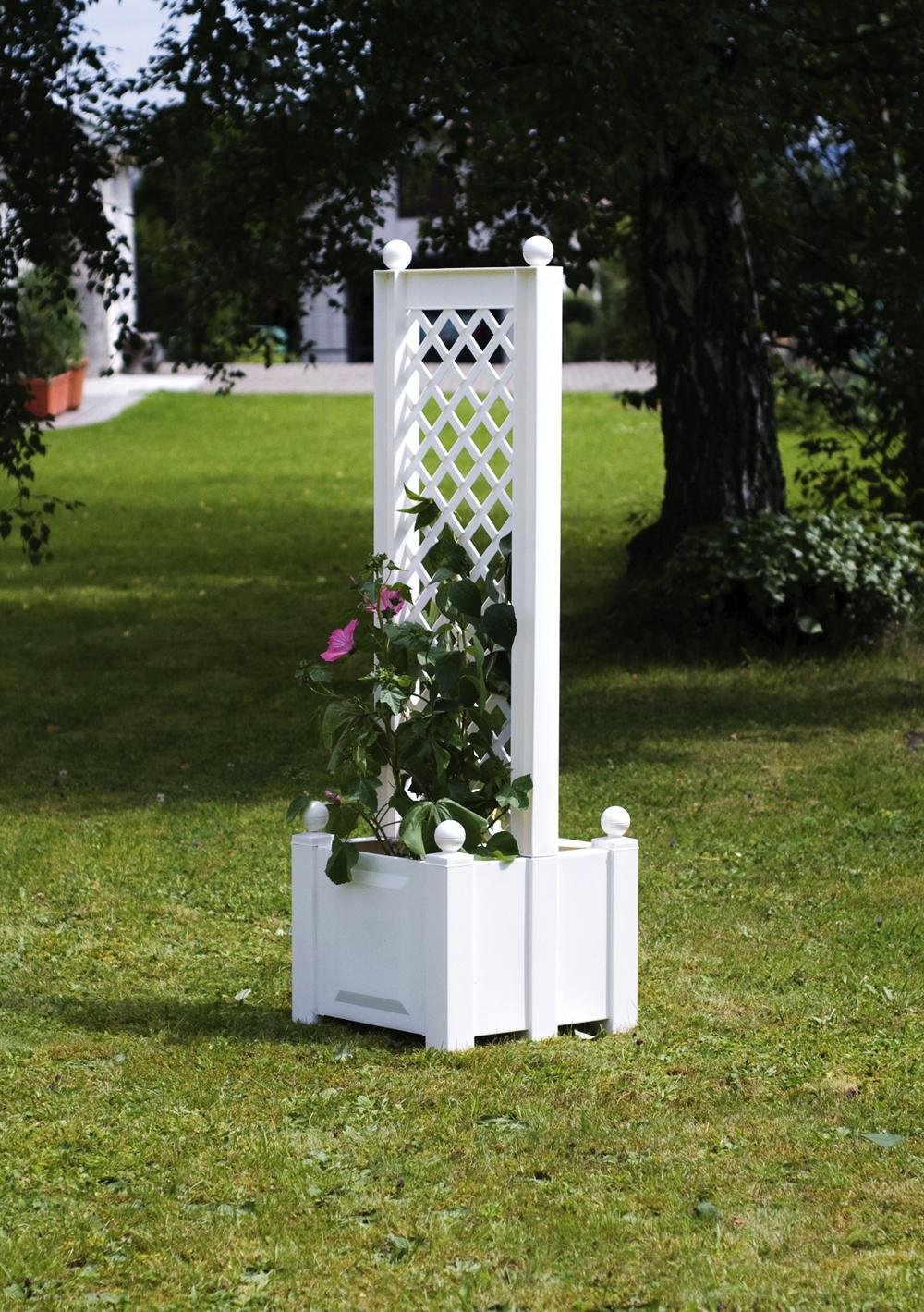 Ящик для растений KHW 37401 WhiteСадовые конструкции<br><br><br>Тип: ящик для растений<br>Объем, л: 44<br>Материал : полипропилен<br>Шпалера в комплекте: есть<br>Ящик для растений: есть