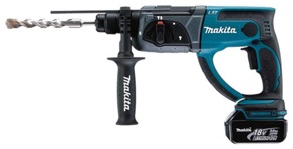 Перфоратор Makita DHR202RFEПерфораторы<br><br><br>Тип крепления бура: SDS-Plus<br>Количество скоростей работы: 1<br>Макс. энергия удара: 1.9 Дж<br>Макс. диаметр сверления (дерево): 26 мм<br>Макс. диаметр сверления (металл): 13 мм<br>Макс. диаметр сверления (бетон): 20 мм<br>Питание: от аккумулятора<br>Шуруповерт: есть<br>Возможности: реверс, фиксация шпинделя, электронная регулировка частоты вращения<br>Тип аккумулятора: Li-Ion