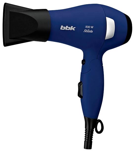 Фен BBK BHD 0800 BlueФены и щипцы<br>Модель фена BHD0800 серии Stilista имеет ультра компактный дизайн. Он легкий, за счет складной ручки не занимает много места. Максимальная мощность 800 Вт. Существует два уровня температуры и скорости, режим холодного воздуха.<br><br>Предусмотрен концентратор, который служит для обработки определенного локона. Ручка имеет покрытие soft touch, которое предотвращает скольжение фена в руке.<br><br>В комплектацию входит сумка-чехол для переноски и хранения. Удобен в длительных поездках, обеспечивая комфорт в дороге!<br>
