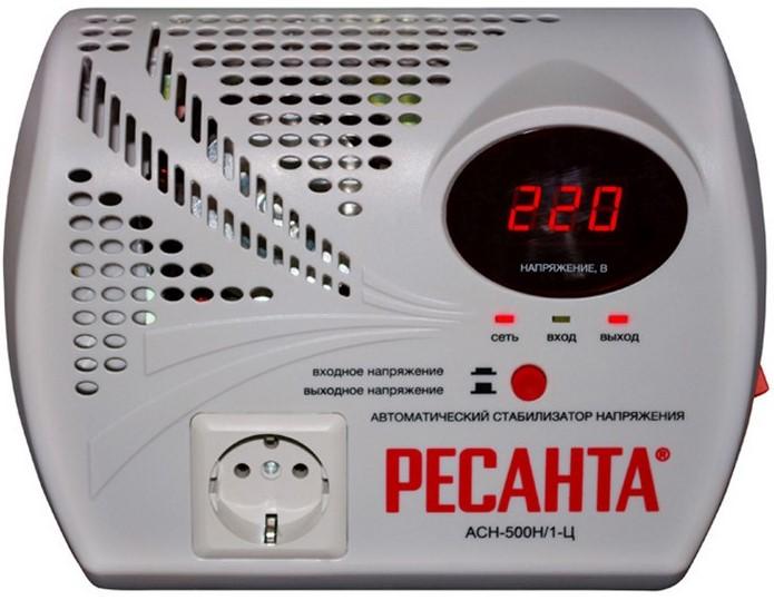 Стабилизатор напряжения Ресанта АСН-500 Н/1-ЦСтабилизаторы напряжения<br>Тот, кто ценит свои деньги и время, приобретает настенный стабилизатор ресанта ACH-500Н/1-Ц! Если вы заведёте в вашем доме такое оборудование, вам больше не надо будет опасаться скачков напряжения и коротких замыканий. Бытовая техника благодаря этому устройству прослужит вам вам гораздо дольше и безо всяких поломок. Таким образом, настенный стабилизатор ресанта ACH-500Н/1-Ц поможет вам ощутимо сэкономить.<br><br>Тип: стабилизатор напряжения
