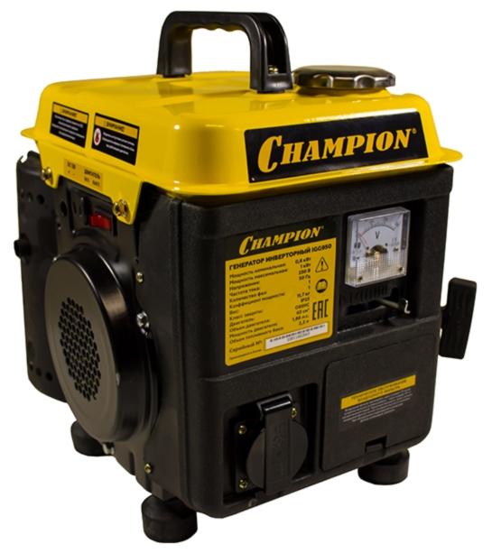 Электрогенератор Champion IGG980Электрогенераторы<br>Champion IGG980 – легкий и компактный бензиновый инверторный генератор. Выдаёт стабильное напряжение, а потому идеально подходит для подключения маломощной бытовой техники, котельного оборудования, оргтехники и компьютеров. Хорошо брать его с собой в путешествия. От модели Champion IGG950 отличается чуть большей мощностью.<br><br>Используется 2-хтактный бензиновый двигатель с системой воздушного охлаждения, а также системой двойного преобразования и стабилизации напряжения ШИМ. Коэффициент мощности &amp;#40;cos?&amp;#41; = 1.<br><br>В качестве топлива используется смесь масла...<br><br>Тип электростанции: бензиновая, инверторная<br>Тип запуска: ручной<br>Объем двигателя: 69 см3<br>Мощность двигателя: 2 л.с.<br>Объем бака: 2,2 л<br>Активная мощность, Вт: 1000