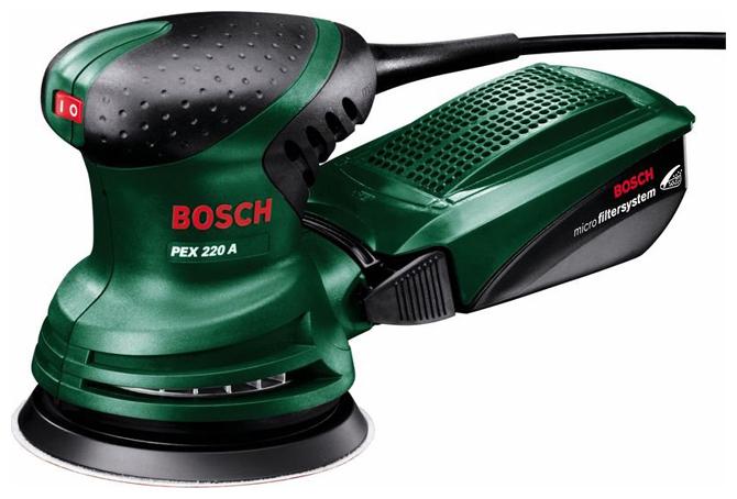 Эксцентриковая шлифмашина Bosch PEX 220 A [0603378020]Шлифовальные и заточные машины<br><br><br>Пылесборник: есть<br>Описание: длина листа 125 мм. Размер хода платформы 5 мм