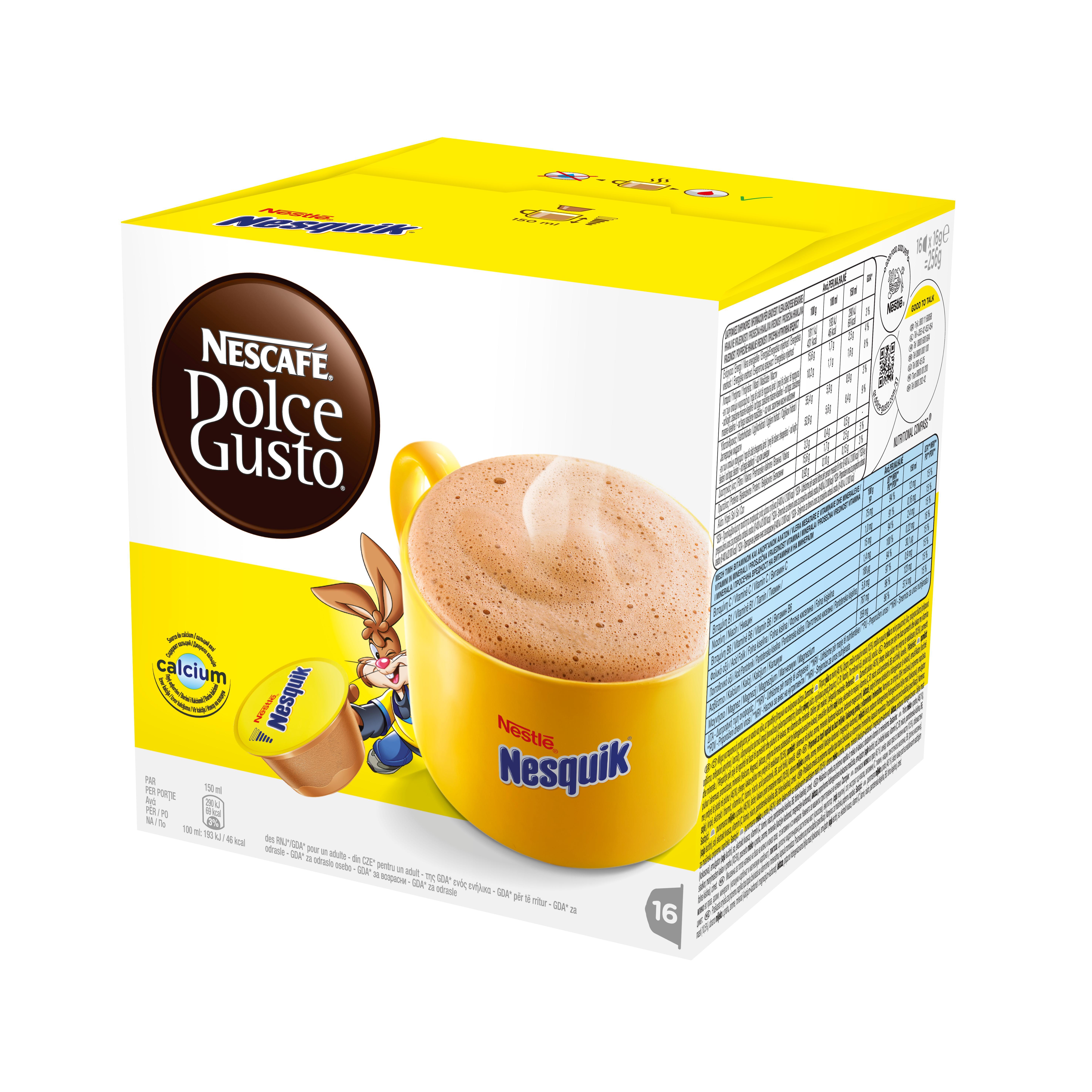 Какао в капсулах Dolce Gusto Nesquik (Несквик), 16 кап.Кофе и чай<br>Какао в капсулах NESCAFE Dolce Gusto Nesquik &amp;#40;Нескафе Дольче Густо Несквик&amp;#41;. Нет ничего лучше чашечки ароматного согревающего шоколадного напитка Nesquik. Насладитесь вкуснейшим напитком - неважно, готовите ли Вы его ребенку или сами желаете на миг вернуться в мир детства. Кролик Квики мгновенно наполнит Вашу чашку горячим ароматным какао-напитком. Каждая капсула рассчитана на одну чашку напитка.<br><br>Несквик - это ароматный согревающий шоколадный напиток.<br>СОСТАВ: сухое цельное молоко, какао-порошок<br><br>Тип: какао в капсулах