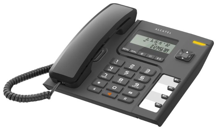 Проводной телефон Alcatel T56 BlackПроводные телефоны<br>Alcatel T56 — проводной телефон с универсальными возможностями и современным дизайном. Телефон оснащен двухстрочным дисплеем, который обеспечивает пользователю текущую информацию о входящих вызовах, а также других важных нюансах, которые могут вам пригодиться. Помимо этого, в телефоне есть телефонная книга, которая вмещает в себя 10 телефонных номеров и обладает важной функцией запоминания последних входящих вызовов. Функция быстрого вызова избавит от необходимости каждый раз искать нужный номер телефона – достаточно лишь нажать пару кнопок....<br><br>Тип: проводной телефон<br>Дисплей: есть<br>Громкая связь (спикерфон): есть<br>Память (количество номеров): 10<br>Однокнопочный набор (количество кнопок): 4<br>Кнопка выключения микрофона: есть<br>Регулятор уровня громкости: есть