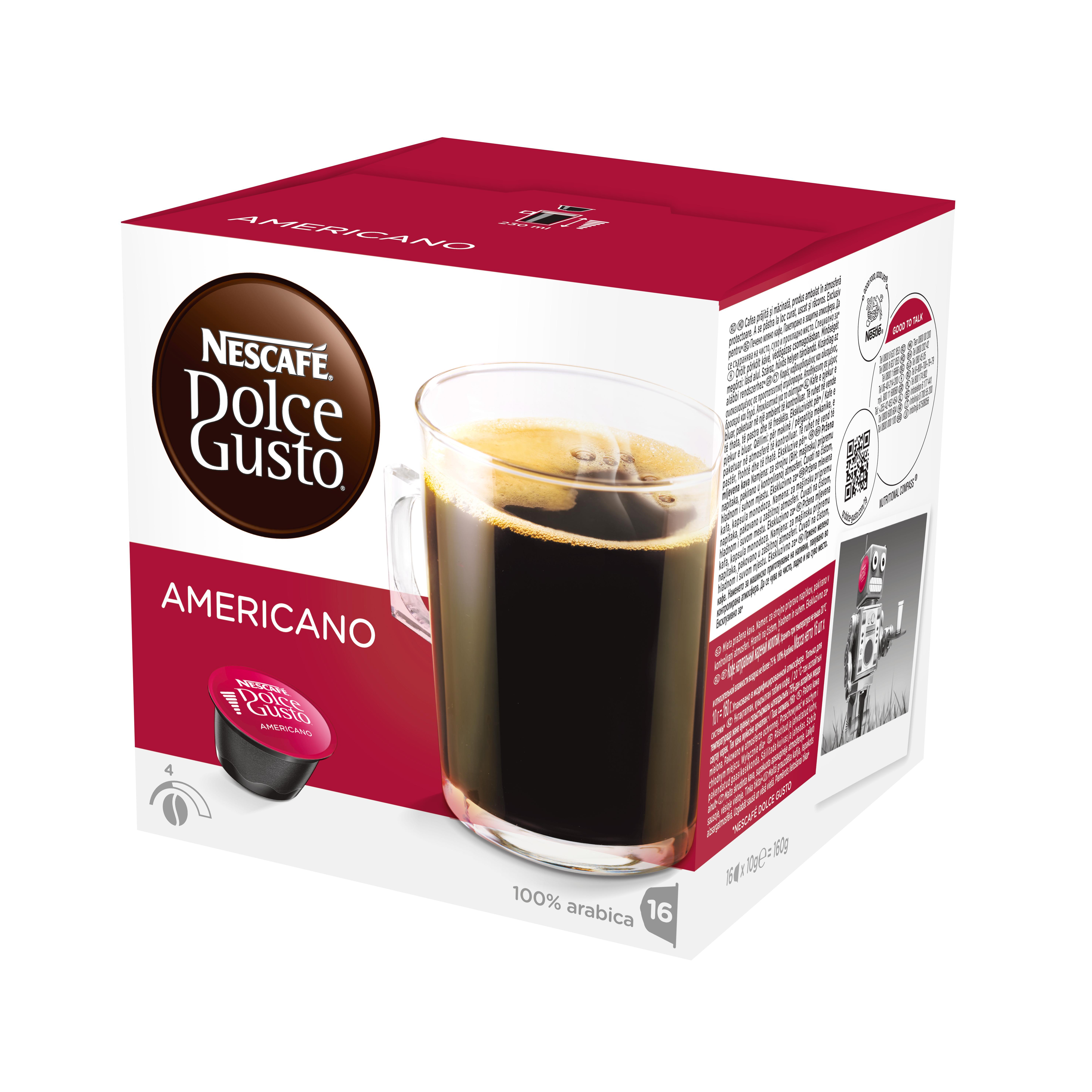 Кофе в капсулах Dolce Gusto Americano, 16 кап.Кофе, какао<br>Кофе в капсулах NESCAFE Dolce Gusto Caffe Americano &amp;#40;Нескафе Дольче Густо Каффе Американо&amp;#41;. Изысканно мягкий вкус кофе Американо превосходен в любое время дня. Благодаря тщательному отбору зерен и легкой обжарке этот сорт мягче, чем Лунго. С молоком или без молока, кофе Американо вкуснее всего пить из большой чашки.<br><br>Американо- это большая чашка классическое кофе, обладающего мягким вкусом и ароматом. <br>СОСТАВ: кофе натуральный жареный молотый<br><br>Тип: кофе в капсулах