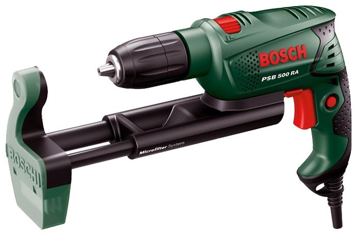 Дрель-шуруповерт Bosch PSB 500 RA Case (БЗП) [0603127021]Дрели, шуруповерты, гайковерты<br>Ударная дрель Easy PSB 500 RA от Bosch: максимальное усилие при минимальном размере<br><br>Потребительские преимущества<br>- Вне конкуренции: компактное исполнение с рукояткой с мягкой накладкой, малый вес &amp;#40;всего 1,5 кг&amp;#41; и исключительное удобство использования обеспечивают комфорт в работе и превосходные результаты при решении любой задачи<br>- Благодаря мощному двигателю на 500 Вт и диаметру отверстия 10 мм при сверлении в бетоне выполнение даже тяжёлых работ станет пустяковым делом<br>- Встроенная система пылеудаления — сверление без пыли благодаря системе микрофильтрации...<br><br>Тип: дрель-шуруповерт<br>Тип инструмента: ударный<br>Тип патрона: быстрозажимной<br>Количество скоростей работы: 1<br>Питание: от сети<br>Возможности: реверс, электронная регулировка частоты вращения<br>Кейс в комплекте: есть