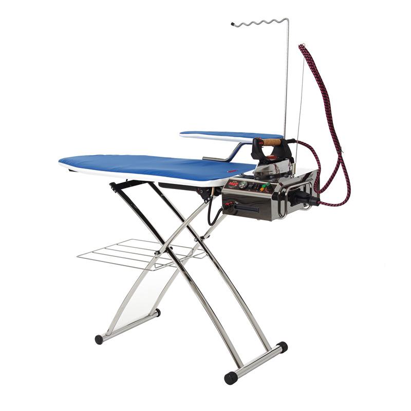 Гладильная  система MIE EXTRA LUXEУтюги и гладильные системы<br><br><br>Тип : Гладильная система<br>Мощность, Вт: 1450<br>Производительность пара: до 200 г/мин<br>Максимальное давление пара,  бар: 6<br>Вертикальное отпаривание: Есть<br>Размер гладильной платформы: 120х45 см