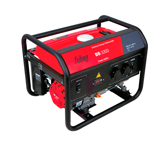 Электрогенератор FUBAG BS 3300Электрогенераторы<br>Отличный аварийный источник электроэнергии на даче: 13 часов работы без дозаправки. Обеспечит освещение и работу таких бытовых электроприборов как микроволновая печь, холодильник. <br><br>Электростанция FubagBS 3300 обеспечивает высокую мощность при небольших габаритах, весе и расходе топлива. <br><br>Позволяет автономно работать практически со всем ручным электроинструментом. <br>- профессиональный OHV-двигатель FUBAG;<br>- cистема AVR, регулирующая выходное напряжение станции;<br>- система защиты от короткого замыкания или превышения допустимой нагрузки;<br>- система защитного...<br><br>Тип электростанции: бензиновая<br>Тип запуска: ручной<br>Число фаз: 1 (220 вольт)<br>Объем двигателя: 337 куб.см<br>Мощность двигателя: 5.8 л.с.<br>Тип охлаждения: воздушное<br>Объем бака: 15 л<br>Класс защиты генератора: IP23<br>Активная мощность, Вт: 3000<br>Защита от перегрузок: есть
