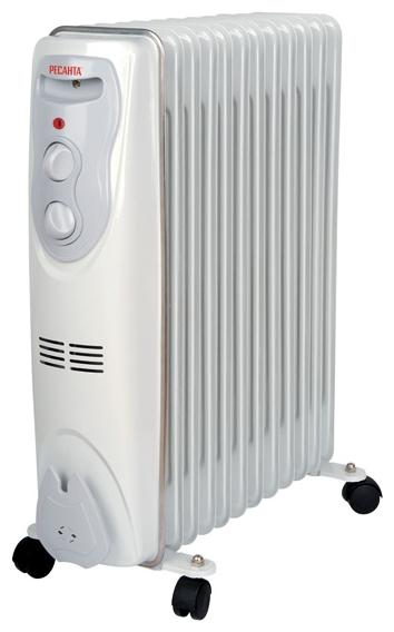 Масляный радиатор Ресанта ОМ-12НОбогреватели<br><br><br>Тип: масляный радиатор<br>Максимальная мощность обогрева: 2500 Вт<br>Количество секций: 12<br>Каминный эффект : есть<br>Управление: механическое<br>Регулировка температуры: есть<br>Термостат: есть<br>Выключатель со световым индикатором: есть<br>Напольная установка: есть<br>Отделение для шнура : есть