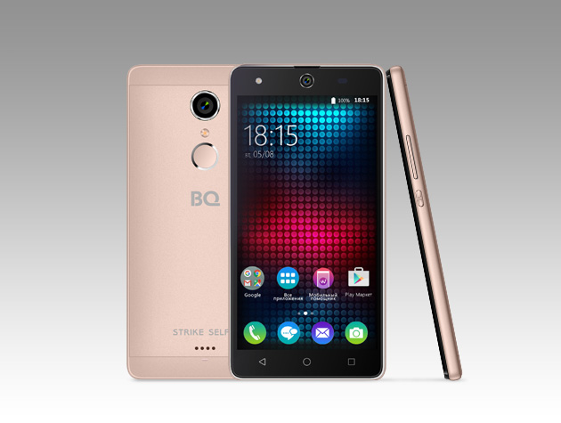 Мобильный телефон BQ BQS-5050 Strike Selfie Rose GoldМобильные телефоны<br>Новая усовершенствованная версия BQ Strike - BQS-5050&amp;nbsp;&amp;nbsp;Strike Selfie.<br><br>Главная особенность новой модели- 13-мегапиксельная фронтальная камера со вспышкой и автофокусом, предназначенная для создания умопомрачительного качества селфи-фотографий, что, несомненно, порадует всех любителей селфи. <br>Кроме этого смартфон работает на базе современной операционной системы Android 6.0. Благодаря работе этой версии ОС смартфон BQS-5050&amp;nbsp;&amp;nbsp;Strike Selfie справляется с мультизадачными приложениями намного быстрее своих конкурентов. <br><br>Устройство оснащено современным 4-х ядерным...<br>
