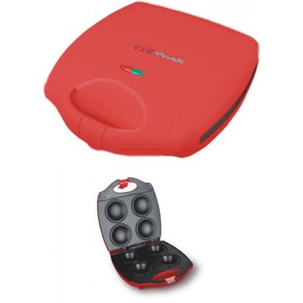 Аппарат для кексов VES V TO 3 RДомашние помощники<br><br><br>Тип: аппарат для кексов<br>Мощность, Вт.: 1400<br>Объем: 4 формы для выпечки<br>Цвет: красный