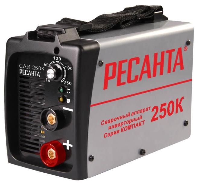 Сварочный аппарат Ресанта САИ-250КСварочные аппараты<br><br><br>Тип: сварочный инвертор<br>Сварочный ток (MMA): 10-250 А<br>Напряжение на входе: 198-242 В<br>Количество фаз питания: 1<br>Напряжение холостого хода: 80 В<br>Тип выходного тока: постоянный<br>Продолжительность включения при максимальном токе: 70 %<br>Диаметр электрода: 6 мм<br>Антиприлипание: есть<br>Горячий старт: есть