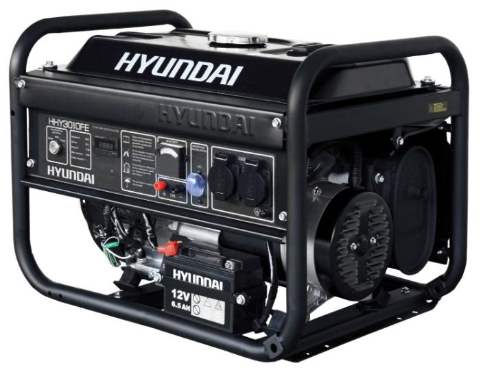 Электрогенератор Hyundai HHY3010FEЭлектрогенераторы<br>Бензиновый генератор Hyundai HHY3010FE — компактная и мощная электростанция, предназначенная для использования в качестве резервного источника энергоснабжения. Благодаря мощному и надежному двигателю, а также великолепным техническим характеристикам этот генератор может использоваться в интенсивном режиме и практически в любой сфере деятельности.<br>Простое управление и отсутствие необходимости в трудоемком обслуживании делают эту установку крайне привлекательной для рядовых пользователей — Hyundai HHY3000FE относится к серии «домашних» бензиновых...<br><br>Тип электростанции: бензиновая<br>Тип запуска: ручной, электрический<br>Число фаз: 1 (220 вольт)<br>Объем двигателя: 212 куб.см<br>Мощность двигателя: 7 л.с.<br>Тип охлаждения: воздушное<br>Объем бака: 12 л<br>Активная мощность, Вт: 2700<br>Защита от перегрузок: есть