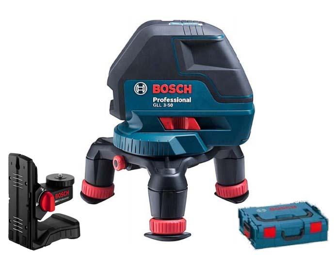 Лазерный нивелир Bosch GLL 3-50 + BM1 + L-BOXX [0601063802]Измерительные инструменты<br>- Разнообразные возможности применения благодаря комплекту из многофункционального линейного лазерного нивелира и мини-штатива<br>- Высокая надежность для профессионального использования и ряд других превосходных технических характеристик<br>- Компактная форма и простое управление<br>- Поворотный мини-штатив для плавной и точной настройки лазерных лучей<br>- Регулируемые по высоте телескопические ножки обеспечивают эргономичное управление<br>- Комплект для нивелировочных работ в кейсе L-BOXX для регулярного хранения и простой транспортировки<br>