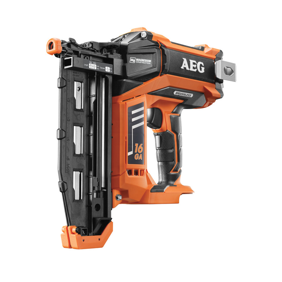 Степлер AEG 451533 B16N18-0Степлеры<br>- Технология вакуумного привода позволяет сохранить преимущества аккумуляторного инструмента, не требующего шумных компрессоров, неудобных шлангов или дорогих газовых картреджей<br>- Забивает гвозди калибра 16 &amp;#40;1.6мм&amp;#41; длиной от 19 до 65мм<br>- 2 режима работы для решения задач, требующих или высокой точности или высокой производительности забивки<br>- Два светодиода подсветки и покрытие рукоятки<br>- Бесключевая регулировка глубины забивания и энергии удара защищает поверхность материала от повреждения и гарантирует погружение головки гвоздя<br>- Защита...<br><br>Питание: аккумулятор<br>Напряжение питания инструмента: 18 в