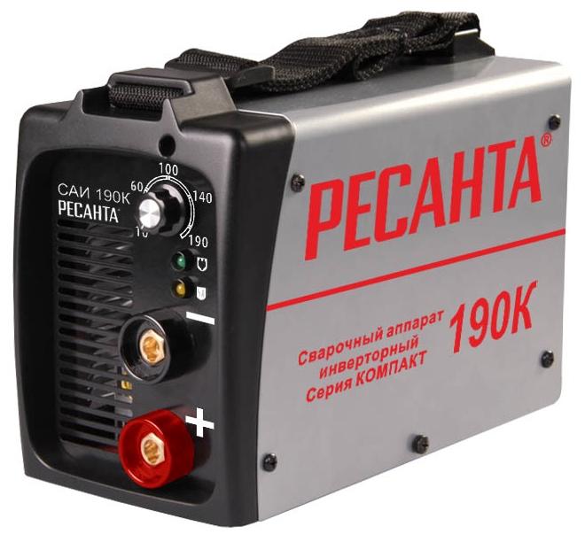 Сварочный аппарат Ресанта САИ190КСварочные аппараты<br><br><br>Тип: сварочный инвертор<br>Сварочный ток (MMA): 10-190 А<br>Напряжение на входе: 198-242 В<br>Количество фаз питания: 1<br>Напряжение холостого хода: 80 В<br>Тип выходного тока: постоянный<br>Продолжительность включения при максимальном токе: 70 %<br>Диаметр электрода: 5 мм<br>Антиприлипание: есть<br>Горячий старт: есть