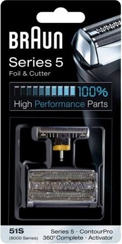 Сетка и режущий блок Braun Series 5 51SАксессуары для бытовой техники<br><br><br>Тип: сетка<br>Описание: для серии бритв: Series 5, ContourPro, 360° Complete, Activator, подходит для следующих моделей: 550, 560, 570cc, 590cc, 8385, 8374, 8377, 8995, 590cc, 530, 540, 570cc, 8995, 8970, 8985, 8986, 8987,8595, 8795, 8581, 8583, 8585, 8781, 8783, 8785.
